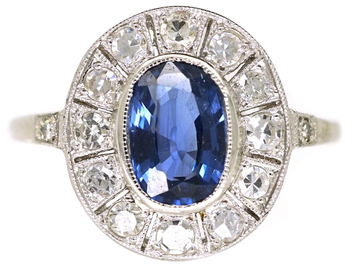 Edwardian Platinum, Sapphire & Diamond Oval Cluster Ring