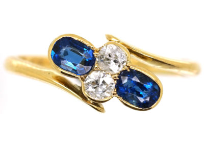 Victorian 18ct Gold, Sapphire & Diamond Crossover Ring