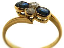Victorian 18ct Gold, Sapphire & Diamond Crossover Ring