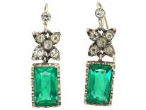 Edwardian Silver & Green & White Paste Drop Earrings
