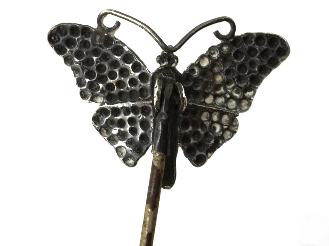 Edwardian Silver Butterfly Hatpin by Charles Horner
