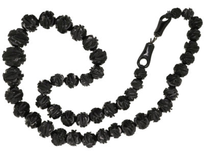 Victorian Carved Jet Beads Necklace