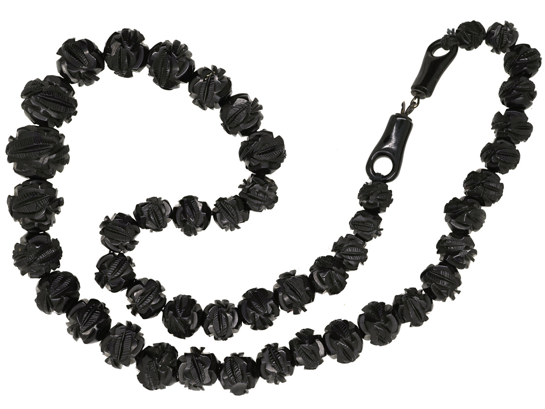 Victorian Carved Jet Beads Necklace with Jet Clasp