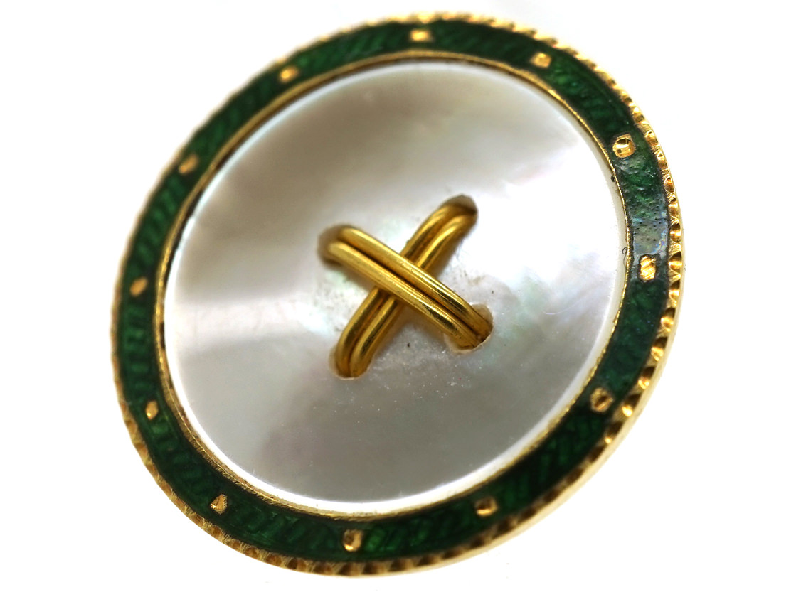 Edwardian 18ct Gold Enamel & Mother of Pearl Set of Dress Buttons in Original Case