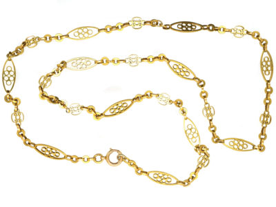 Edwardian 18ct Gold Decorated Chain