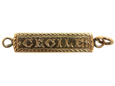 Victorian 9ct Gold Pendant with Cecile Engraved