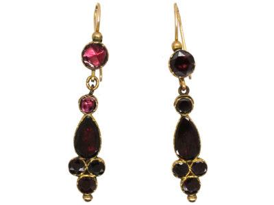 Georgian 9ct Gold & Flat Cut Almandine Garnet Drop Earrings