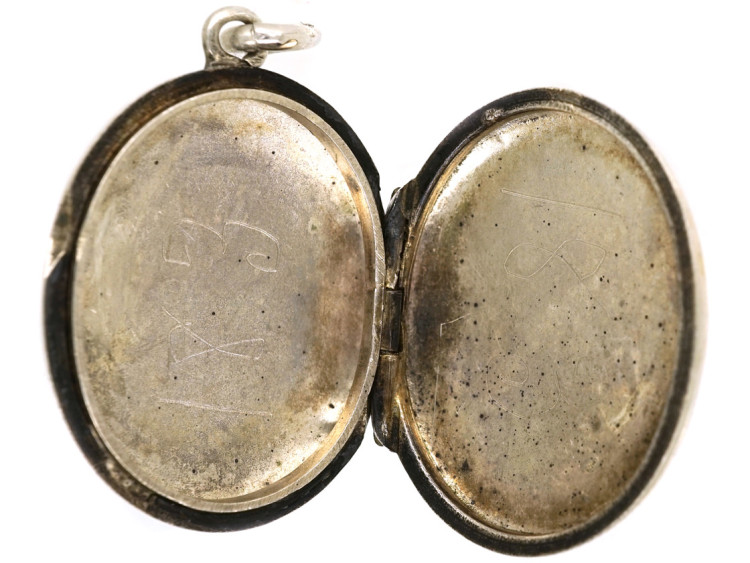 Victorian Small Oval Silver Locket With Ivy Leaf Motif