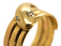 Victorian 15ct Gold Snake Ring With Rose Diamond Eyes