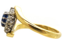 18ct Gold, Sapphire & Diamond Crossover Cluster Ring