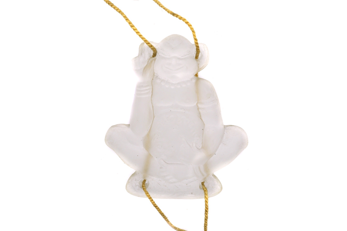 Art Deco Glass Monkey Pendant on Original Cord Chain