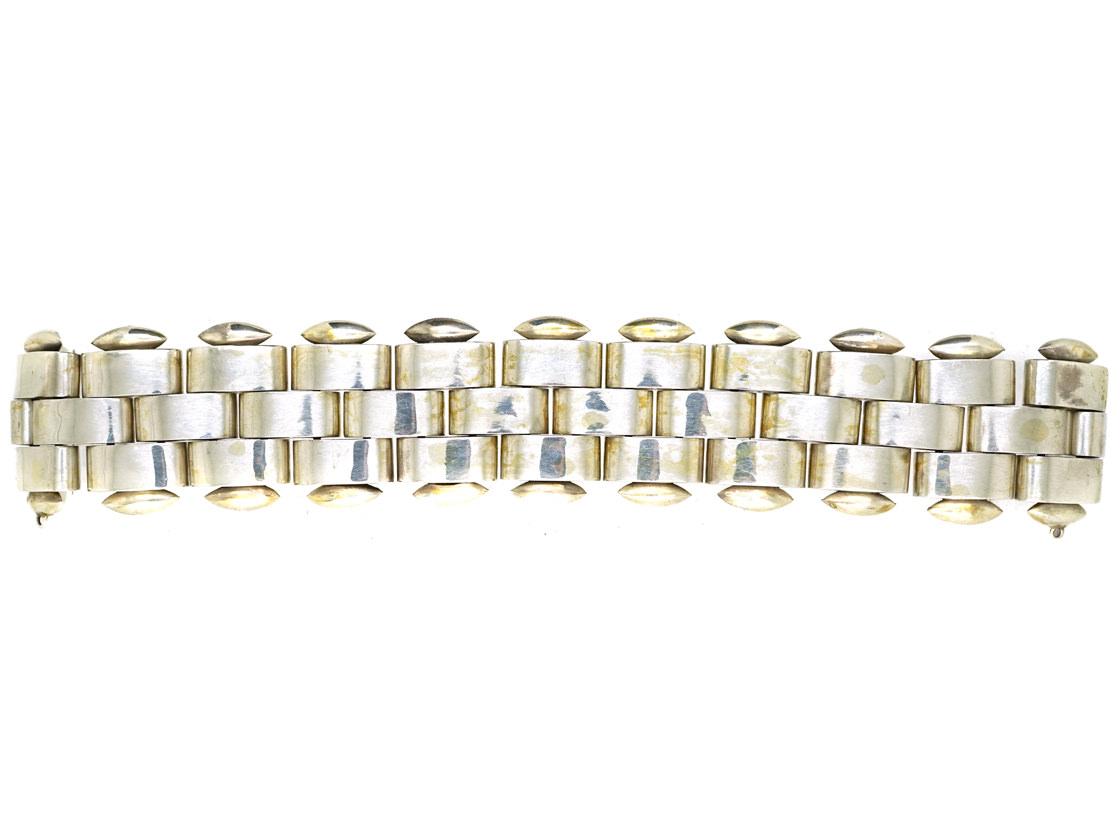 Victorian Silver Wide Bracelet