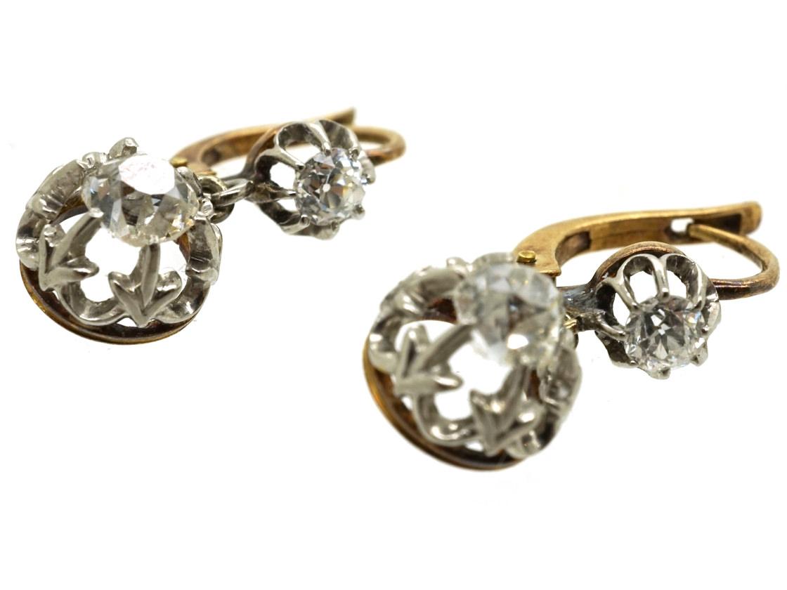 French Two Stone Diamond Drop Earrings