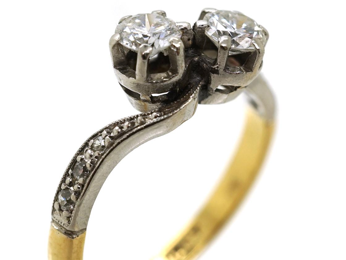 Edwardian 18ct Gold & Platinum, Two Diamond Crossover Ring