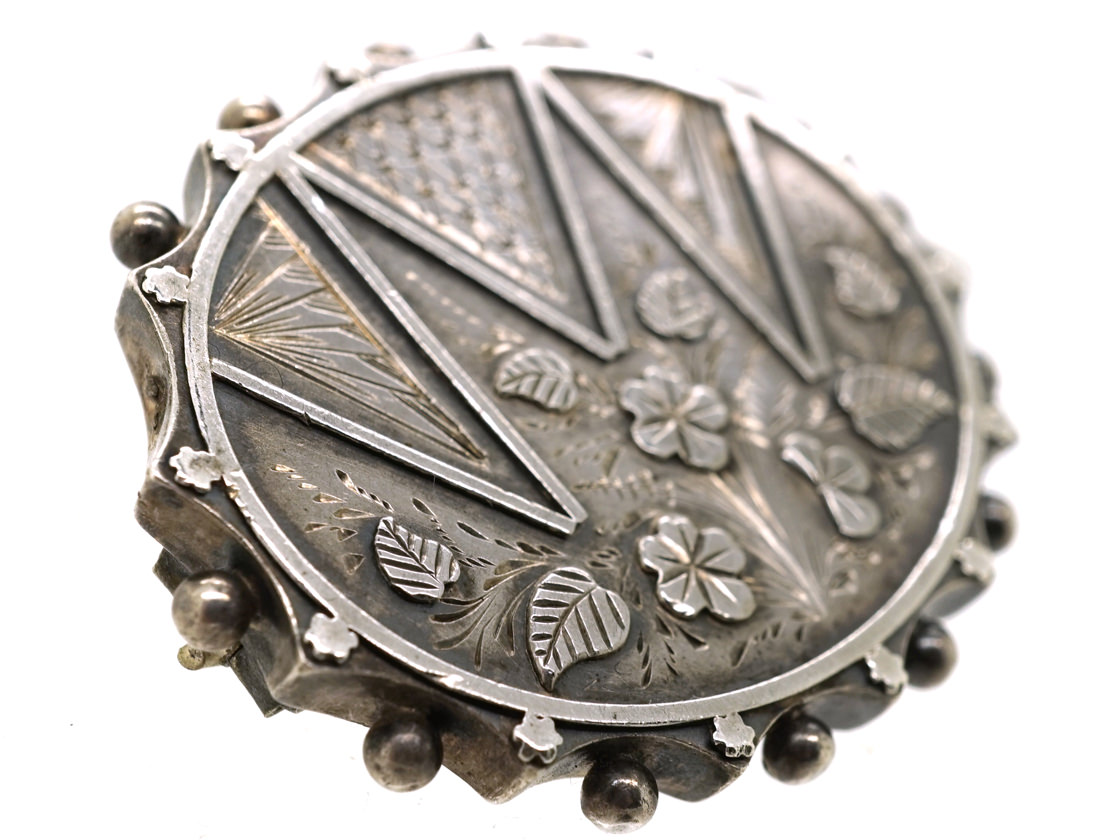 Victorian Silver Oval Brooch With Flower Design