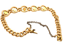Edwardian 15ct Gold Curb Bracelet Set With Turquoise & Pearls