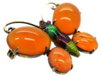 Silver, Enamel & Carnelian Butterfly Brooch