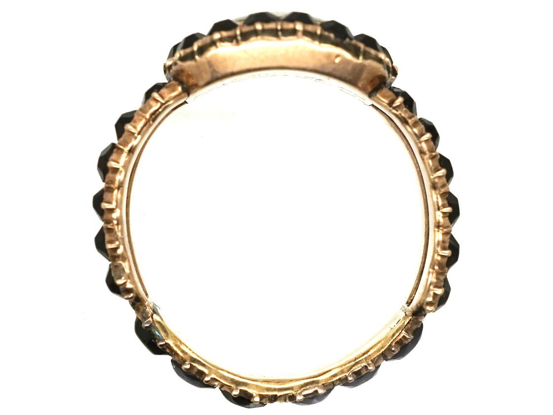 Georgian Gold & Vauxhall Glass Mourning Ring
