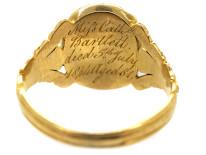 Victorian Gold, Enamel, Aquamarine & Natural Split Pearl Cluster Mourning Ring