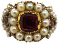Georgian Gold, Flat Cut Almandine Garnet & Natural Split Pearl Ring