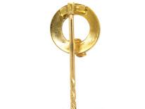 Edwardian 15ct gold, Natural Split Pearl & Rose Diamond Garter Tie Pin