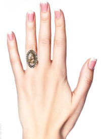 Georgian Gold & Paste Ring Inset with a Sepia Miniature of a Lady and her Dog