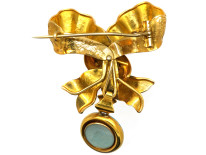 Victorian 15ct Gold, Turquoise Blue Enamel, Natural Split Pearl & Rose Diamond Bow Brooch