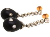 Art Deco Onyx & Diamond Drop Earrings in Original Case