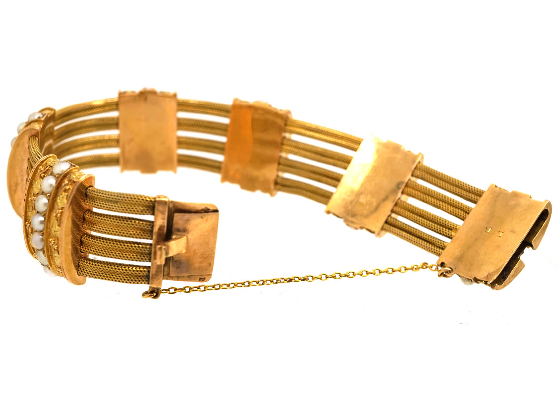 French 18ct Two Colour Gold & Natural Split Pearl Bracelet