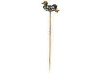 Edwardian Diamond & Enamel Duckling Tie Pin