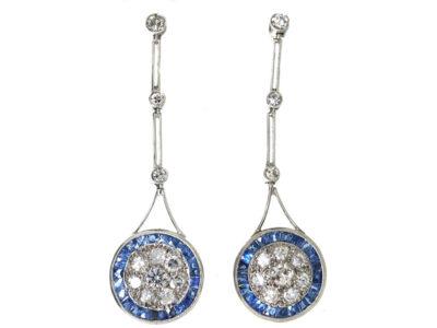 Art Deco Platinum, Sapphire & Diamond Target Design Drop Earrings