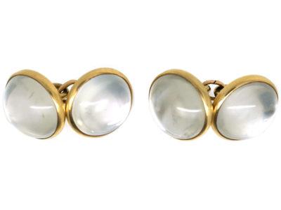 Art Deco 14ct Gold & Moonstone Cufflinks