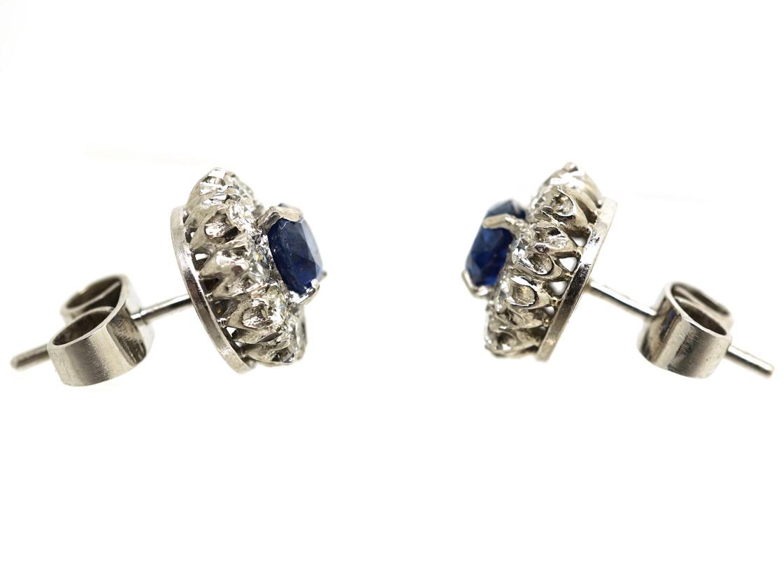 18ct White Gold, Sapphire & Diamond Cluster Earrings