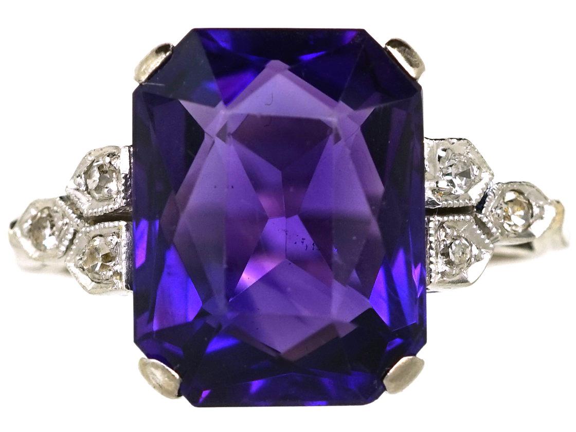 Art Deco 18ct White Gold & Platinum, Amethyst & Diamond Ring