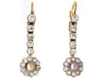 Edwardian 18ct Gold, Pearl & Diamond Drop Earrings