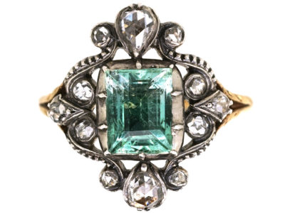 Georgian 15ct Gold, Foiled Green Aquamarine & Rose Diamond Ring