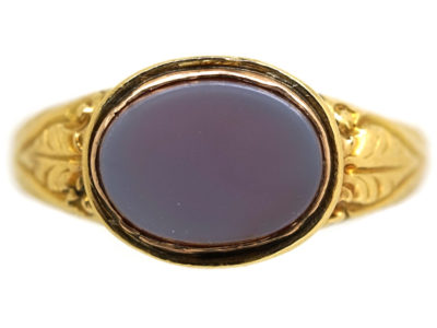 18ct Gold Early Victorian Signet Ring Set with a Carnelian