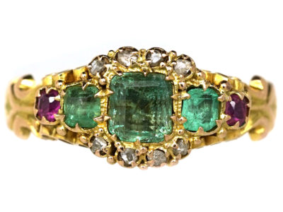 Victorian 15ct Gold, Emerald Ruby & Rose Diamond Ring