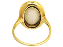 Art Deco 18ct Gold, Opal & Black Enamel Ring