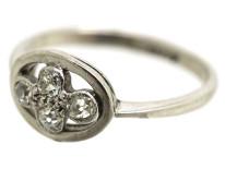 Art Deco 18ct White Gold Ring Set With Four Diamonds