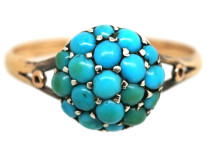 Edwardian 9ct Gold & Turquoise Cluster Ring