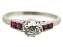 Art Deco Platinum, Ruby & Diamond Ring