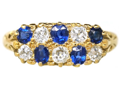 Edwardian 18ct Gold, Sapphire & Diamond Chequerboard Ring