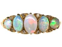 Edwardian Opal & Rose Diamond Five Stone Ring