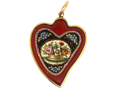 Georgian 15ct Gold Weeping Heart Micro Mosaic Pendant