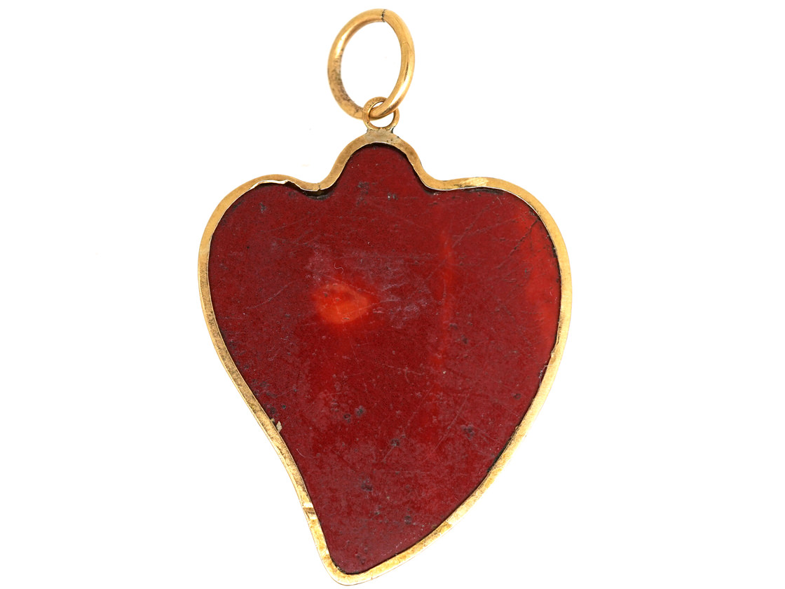 Georgian 15ct Gold Weeping Heart Micro Mosaic Pendant