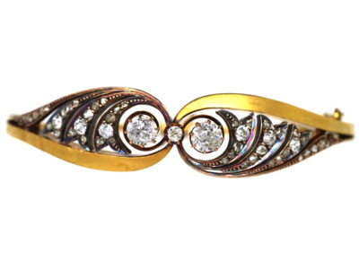 Edwardian 15ct Gold & Diamond Bangle