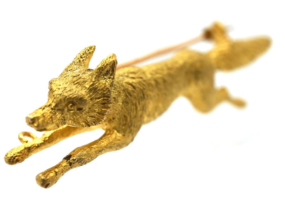 Edwardian 15ct Gold Running Fox Brooch