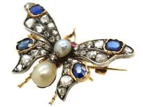 Edwardian Sapphire, Natural Pearl, Ruby & Diamond Butterfly Brooch