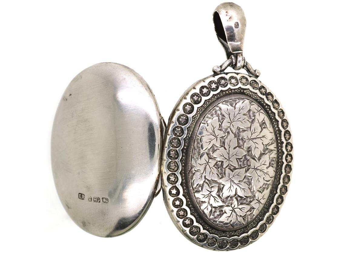Victorian Silver Oval Locket With Ivy Leaf Motif